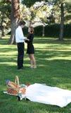 Paar dat Picknick heeft royalty-vrije stock foto