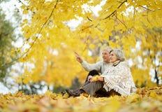 Paar dat pret in park heeft Stock Foto