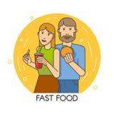 Paar dat snel voedsel eet Stock Afbeelding