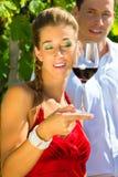 Paar dat zich bij wijngaard en het drinken wijn bevindt Stock Afbeelding