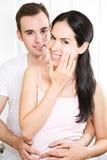 Paar in de badkamers Stock Foto