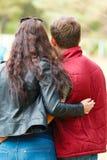 Paar: de kerel en het meisje omhelzen elkaar stock afbeeldingen