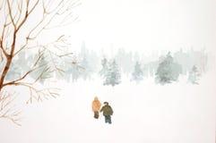 Paar in de Sneeuw Royalty-vrije Stock Afbeelding