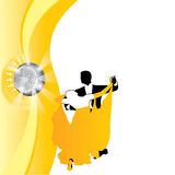 Paar die als achtergrond in geel dansen Royalty-vrije Stock Fotografie