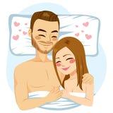 Paar die bed koesteren royalty-vrije illustratie