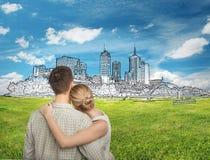 Paar die cityscape schets bekijken royalty-vrije stock afbeeldingen