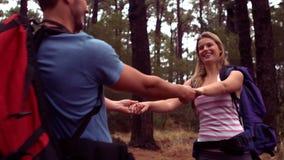 Paar die door een bos wandelen stock video