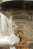 Paar die door Fontein omhelzen Stock Afbeelding