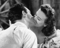 Paar die elkaar kussen (Alle afgeschilderde personen leven niet langer en geen landgoed bestaat Leveranciersgaranties die daar B  royalty-vrije stock foto