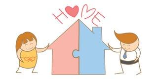 Paar die figuurzaag van huis samenbrengen Stock Afbeelding
