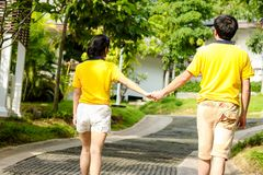 Paar die hand in hand op het park lopen stock fotografie