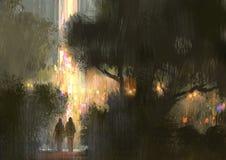 Paar die in het stadspark bij nacht lopen stock illustratie