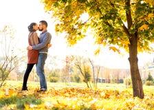 paar die in liefde in de herfstpark lopen royalty-vrije stock foto