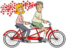 Paar die in liefde een fiets berijden vector illustratie