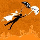 Paar die in liefde met paraplu's vliegen Stock Afbeeldingen