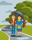 Paar die in liefde onder paraplu in vectorilustration van het de zomerpark lopen vector illustratie