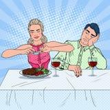 Paar die lunch in restaurant hebben Vrouw die Foto van Voedsel nemen Pop-artillustratie stock illustratie