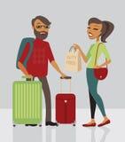 Paar die met bagage reizen Stock Fotografie