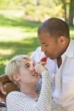 Paar die met Voedsel in het Park flirten royalty-vrije stock afbeelding