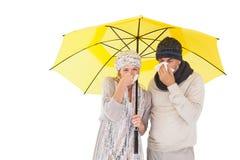 Paar die op de wintermanier onder paraplu niezen Stock Fotografie