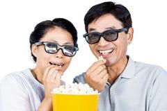 Paar die op een 3D film letten Royalty-vrije Stock Fotografie
