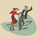 Paar die rocknroll dansen stock illustratie