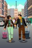 Paar die samen reizen stock illustratie