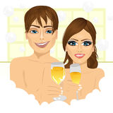 Paar die toost met champagne in badkuip maken vector illustratie