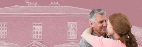 Paar die voor de schets van de huistekening koesteren royalty-vrije stock foto