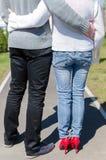 Paar die zich in een park bevinden Royalty-vrije Stock Afbeelding