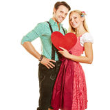 Paar in dirndl en leerbroek Stock Foto's