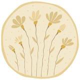 Paar een gele bloem op flauw bruine achtergrond Royalty-vrije Stock Afbeelding