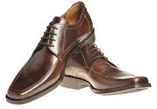Paar een schoen een bruin leer stock afbeelding