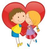 Paar en hart Stock Afbeelding