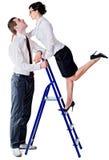 Paar en ladder stock afbeelding