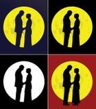 Paar en volle maan Royalty-vrije Stock Foto