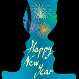 Paar en vuurwerk in het nieuwe jaar royalty-vrije illustratie