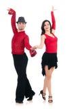 Paar geïsoleerder dansers Stock Foto