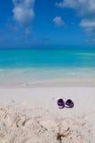 Paar gekleurde sandals op een wit zandstrand Royalty-vrije Stock Fotografie