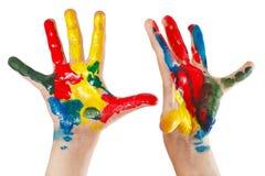 Paar geschilderde die handen van kinderen op witte achtergrond wordt geïsoleerd Royalty-vrije Stock Foto's