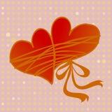 Paar harten die door liefde worden samengebonden Royalty-vrije Stock Foto's