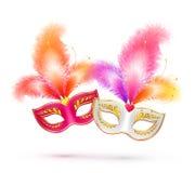 Paar heldere Carnaval-maskers met kleurrijk Royalty-vrije Stock Foto