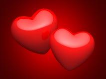 Paar heldere rode harten Royalty-vrije Stock Foto's