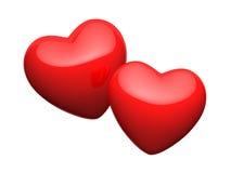 Paar heldere rode harten Stock Afbeelding