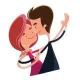 Paar in het beeldverhaalkarakter van de liefde dansend illustratie Royalty-vrije Stock Foto's