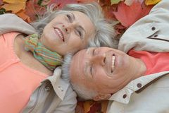 Paar in het de herfstpark Royalty-vrije Stock Afbeeldingen
