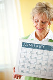 Paar: Het houden van een Kalender van Januari 2017 Royalty-vrije Stock Afbeeldingen