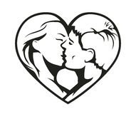 Paar het kussen in het hartsymbool Royalty-vrije Stock Afbeeldingen