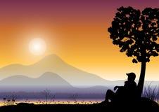 Paar het letten op zonsopgang, Vectorillustraties Royalty-vrije Stock Afbeeldingen