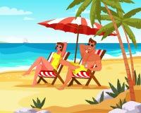 Paar het ontspannen op de vlakke vector van de de zomervakantie stock illustratie